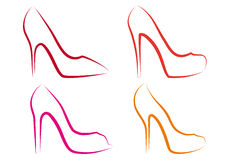 High heel shoes, vector set. High heel shoes line art, vector set Stock Images