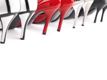 High heel shoes. High heel womens shoes closeup of heels stock photo