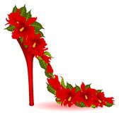 High heel from violet orchids Stock Photo