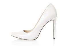 High heel white shoe on white Stock Image
