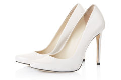 High heel white shoes pair. On white, clipping path included royalty free stock images