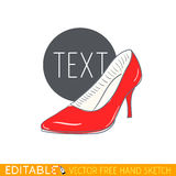 High heel woman shoe. Red stiletto. Editable vector icon in linear style.  Royalty Free Stock Photography