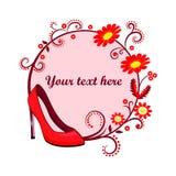 High heel women shoe icon logo or banner Stock Images