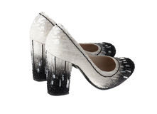 High heel women shoes. White isolated Royalty Free Stock Image
