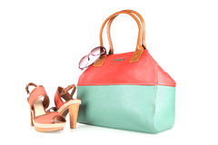 High-heeled boots and handbag Royalty Free Stock Images