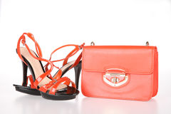 High-heeled boots and leather bag Royalty Free Stock Image