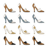 High-heeled model ladies' shoes isolated on white. Background rasterized vector illustration Royalty Free Stock Images