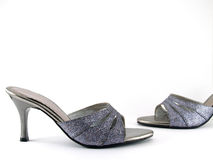 pair of high heel shoe adorned with carborundum Royalty Free Stock Photography