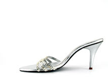silver high heel shoe adorned with crystals Royalty Free Stock Photos