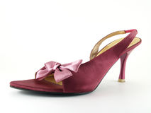 purple high heel shoe with fabric bow  Royalty Free Stock Photo