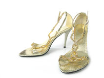 High-heeled shoes. Luxury high-heeled shoes on white background Royalty Free Stock Photography