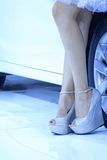 High heeled shoes of car model Royalty Free Stock Images