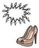 High heeled shoes-100. Cartoon image of high heeled shoes. An artistic freehand picture Royalty Free Stock Photo
