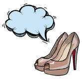 High heeled shoes-100. Cartoon image of high heeled shoes. An artistic freehand picture Stock Photos
