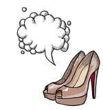 High heeled shoes-100. Cartoon image of high heeled shoes. An artistic freehand picture. With speech bubble Royalty Free Stock Images