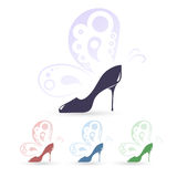 High heeled shoes icons. With butterfly in four color variations for shoe stores Stock Photos