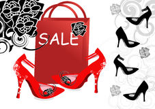 High-heeled shoes for sale. Illustration Stock Image