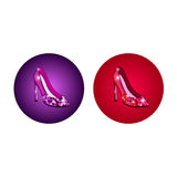 High-heeled shoes. High-heeled shining shoes icons Stock Images