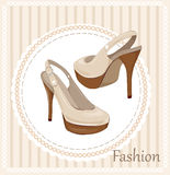 High-heeled shoes. Vintage  label with high-heeled shoes Stock Photo