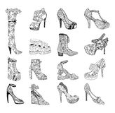 High-heeled shoes for woman. Fashion footwear artwork in blackblack style pattern fill. Royalty Free Stock Images