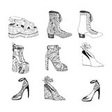 High-heeled shoes for woman. Fashion footwear artwork in blackblack style pattern fill. Stock Images