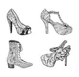High-heeled shoes for woman. Fashion footwear artwork in blackblack style pattern fill. Royalty Free Stock Photo