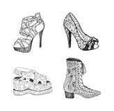 High-heeled shoes for woman. Fashion footwear artwork in blackblack style pattern fill. Stock Photo