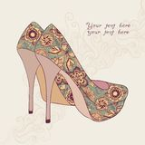 High-heeled vintage shoes with flowers fabric. Royalty Free Stock Photo