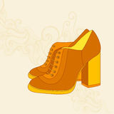 A high-heeled vintage shoes with flowers fabric. High heels back Royalty Free Stock Photography
