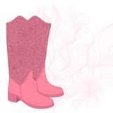 A high-heeled vintage shoes with flowers fabric. High heels back Royalty Free Stock Image