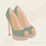 A high-heeled vintage shoes with flowers fabric. High heels back. Ground with place for you text on paper background Royalty Free Stock Photo