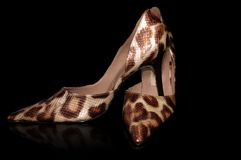 High heels. Fancy shoes against black background royalty free stock image
