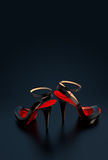 High Heels. Beautiful high heels on black background Royalty Free Stock Photo