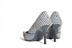 High heels. Ladies high heels in plaid Stock Photo