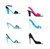 High heels. Illustration of high heel shoes in different colors Stock Photo