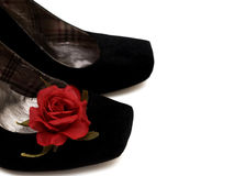 High Heels black shoes with red rose Stock Photography
