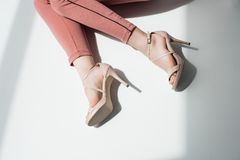 High heels. Cropped view of trendy woman in high heels Royalty Free Stock Photos