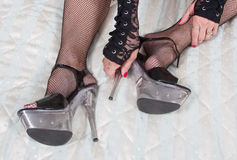 High Heels And Fishnet Stockings Stock Photos