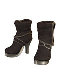 High heels footwear, winter boots  on white Stock Image