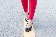 High Heels Girl On Yellow Lines Stock Photos