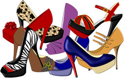 High Heels. An illustration of high heeled shoes in various different styles Stock Photos