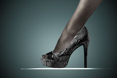 High heels. Image is posed on dark background Royalty Free Stock Image