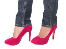 High heels and jeans. Pink high heels and jeans isolated on white background Royalty Free Stock Images