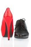 High heels and men's shoe Stock Image