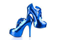 High heels metallic blue female shoes Royalty Free Stock Image