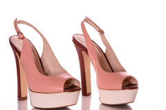 High Heels with peep toe and ankle-strap.  Royalty Free Stock Photo