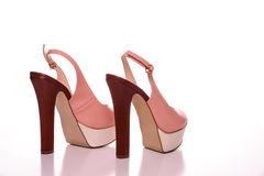 High Heels with peep toe and ankle-strap.  Stock Image