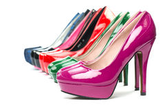 High heels pumps in different colors. High Heels shoes in shiny patent leather in various colors Royalty Free Stock Photo