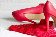 High heels and red g-string abstract concept Stock Photo