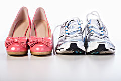 High Heels and runners Stock Photo